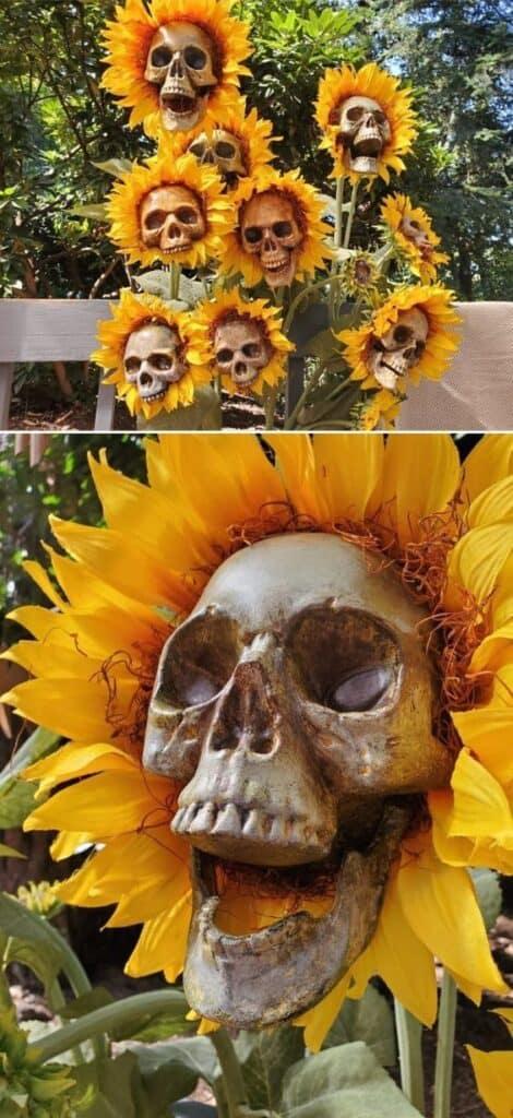 DIY Sunflower Skeletons Halloween Lawn decor