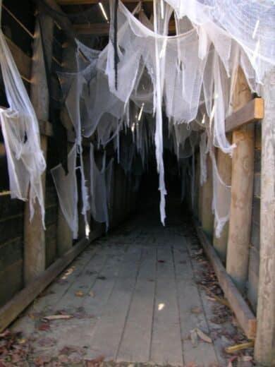 Cheese cloth spider web Halloween decorations for a hallway
