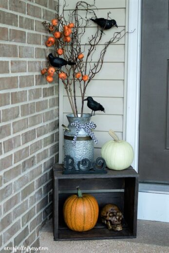 Halloween Fall Wood Crate on Front Porch