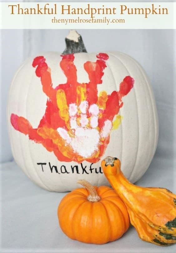 Thankful Hand Print Pumpkin kids gift idea to Grandparents