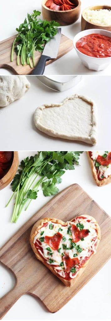 Easy DIY Heart Shaped Pizza for Valentines Day. Pair with our pizza pun for the perfect clever and memorable gift. DIY boyfriend gifts.
