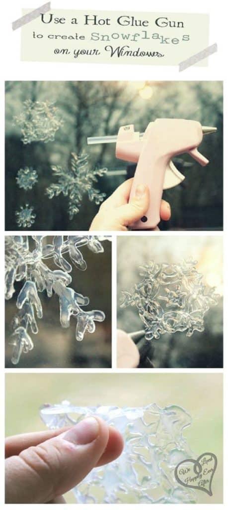 DIY Snowflake Window Clings Easy Christmas Decorations