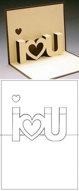 Easy DIY 3D I Luv U card for Valentines Day. DIY boyfriend gifts