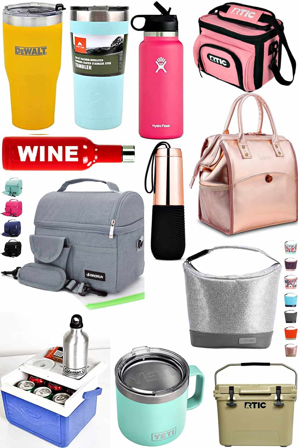 The best tumblers and coolers for gifts includes rose gold and silver for men