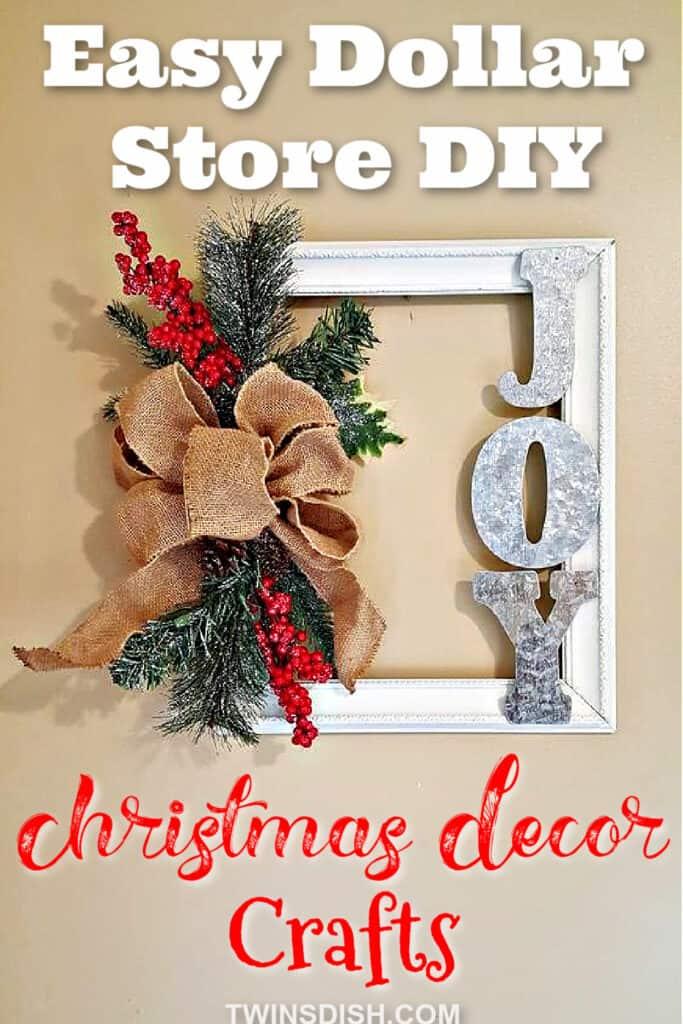 Dollar Store FarmHouse Picture Frame Christmas Decor