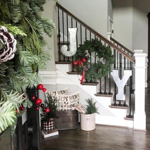 Farmhouse Joy Staircase Christmas Decor Idea