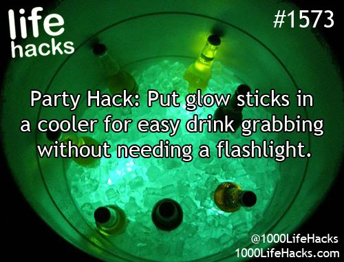 Glow in the dark cooler hack for drinks. Easy DIY 4th of July party ideas.