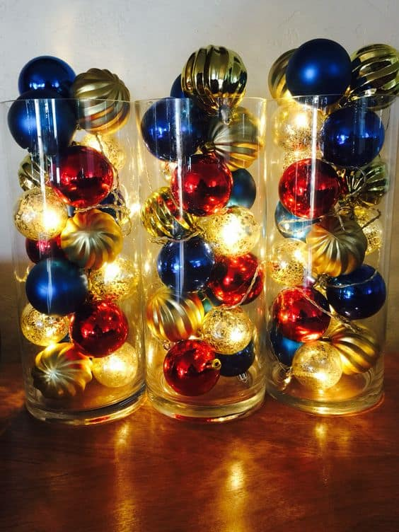 Easy 4th of July party ideas using Christmas Ornaments and lights. On a Budget centerpiece or lighting.
