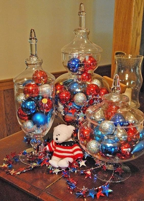 Easy DIY 4th of July party Apothecary Decoration idea using Christmas Ornaments. On a budget idea for a centerpiece or mantel. Easy 4th of July party ideas.