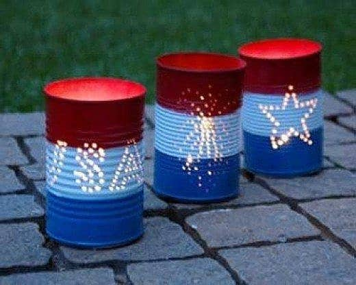 Red, white, and blue votive lighting party decoration idea using cans. Easy 4th of July party ideas.