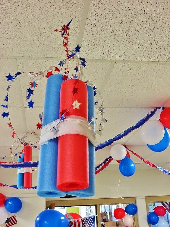 DIY pool noodle firework decoration. Easy DIY 4th of July party ideas on a budget.