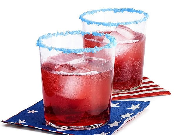 Drinks rimmed with Pop Rocks. Easy DIY 4th of July party ideas for Food and decorations.