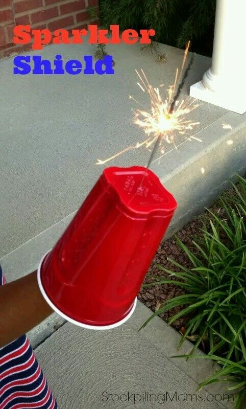 Easy DIY 4th Of July Party Ideas on a budget. Sparkler guard for kids.