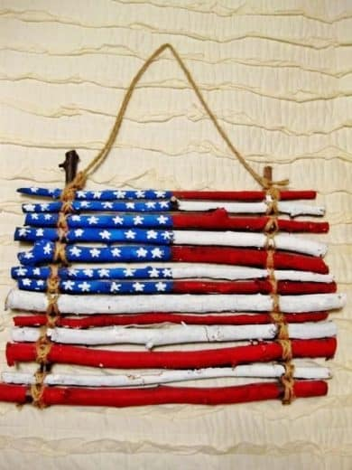 Easy DIY stick flag craft. 4th of July party ideas and kids craft.