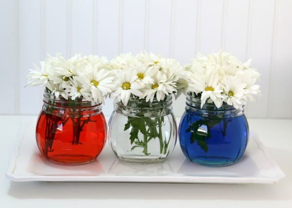 DIY patriotic food coloring in vases decoration. Easy DIY 4th of July party ideas on a budget.