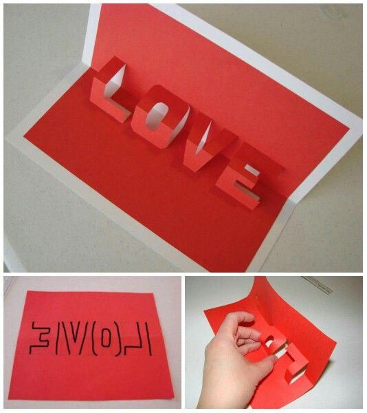Easy DIY 3D Love Valentines Day Card for him. DIY boyfriend gifts