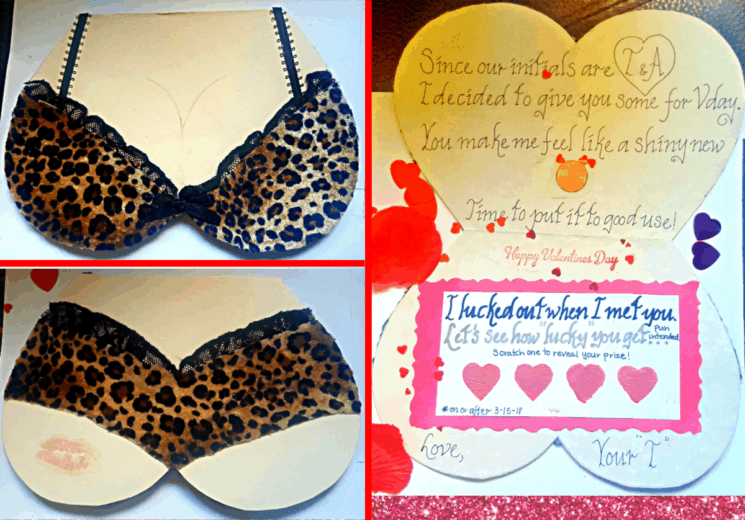 Easy DIY Lingerie Valentines Day Card for him with DIY lotto scratchers, can also be made for Galentines Day, Bachelorette, Anniversay, and Birthday.