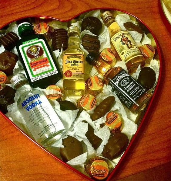 Heart Shaped Valentines Day Box of Chocolates with mini Liquor bottles for him. DIY boyfriend gifts.