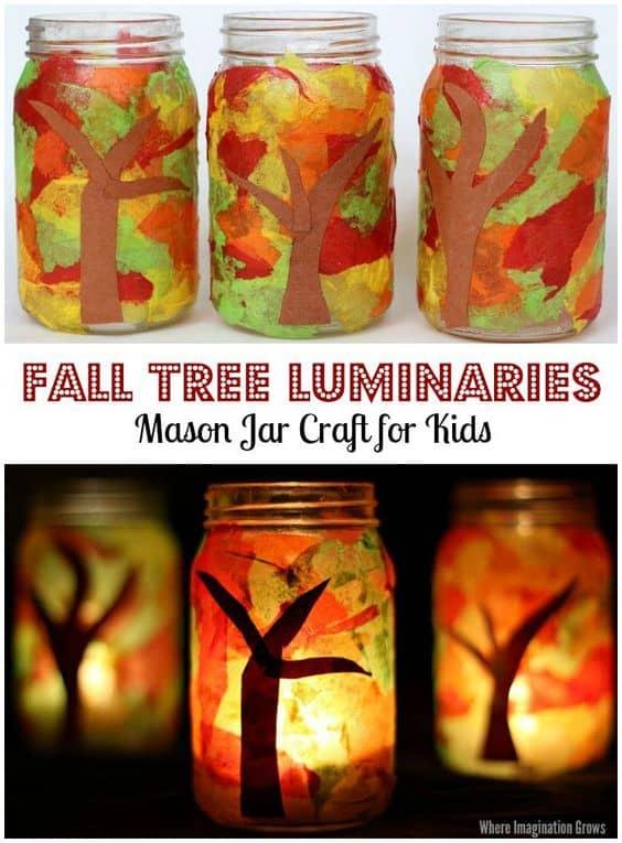 Fall Tree Mason Jar Luminaries Kids Crafts