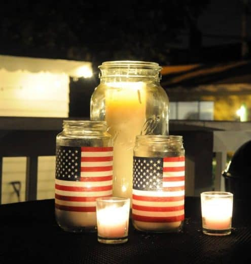 DIY Flag Mason jar craft. Easy DIY 4th of July party ideas for Food and decorations.