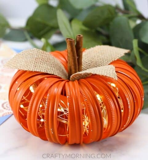 Mason Jar lighted Pumpkins Fall Decor Craft