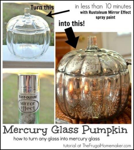 Silver Glass Pumpkin Fall Craft Elegant