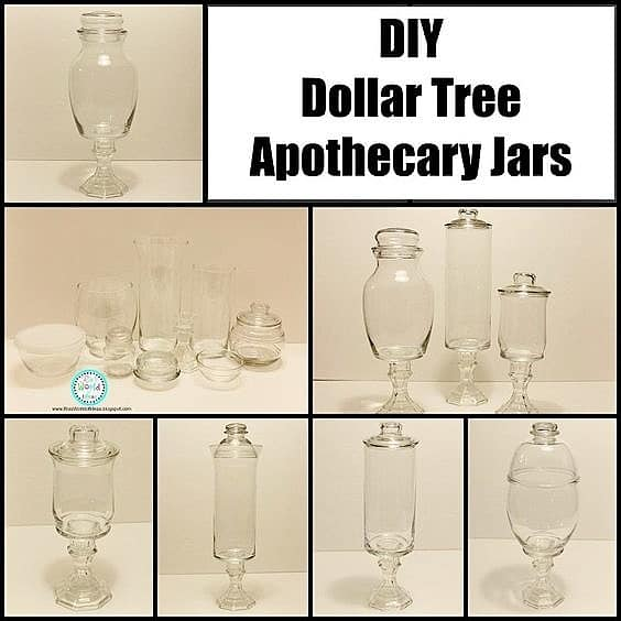 Easy DIY Dollar Tree Apothecary jars gift ideas for Mom or family. DIY Mother's Day craft gift idea anyone can make for Mom or GrandMa on a budget. Also a great Christmas gift.