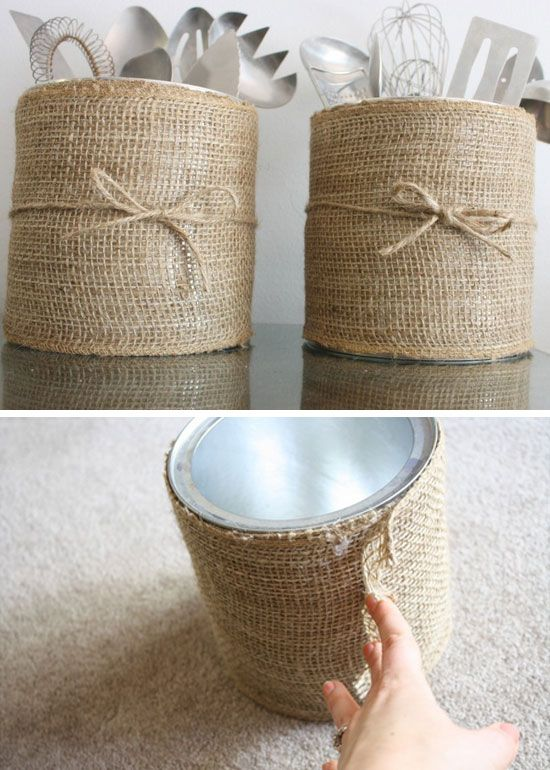 Easy DIY Burlap kitchen canister Mothers Day craft. A great rustic farm house kitchen organization and decor gift idea you can do for Mom's, GrandMa, or Grauntie on a budget.