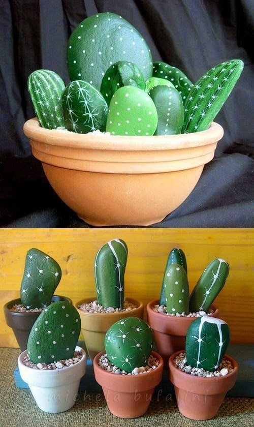 Easy DIY Stone cactus plant Mothers Day crafts kids can make. A great Summer garden gift idea you can do for Mom's, GrandMother, or Grauntie on a budget.