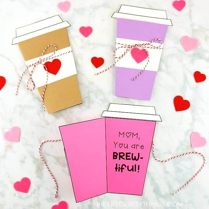 Easy DIY Coffee Card. Great DIY Mother's Day craft gift kids can make for Mom or GrandMa