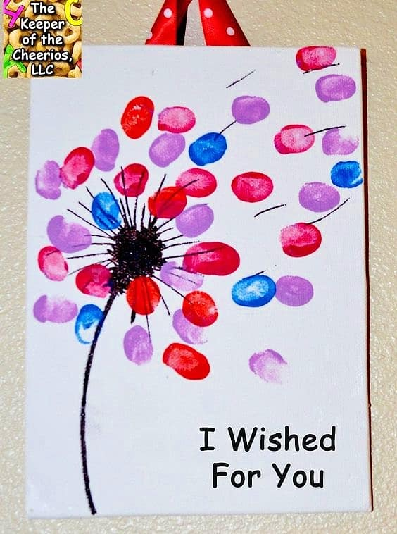 Easy DIY Fingerprint Wish Card. Great DIY Mother's Day craft gift kids can make for Mom or GrandMa