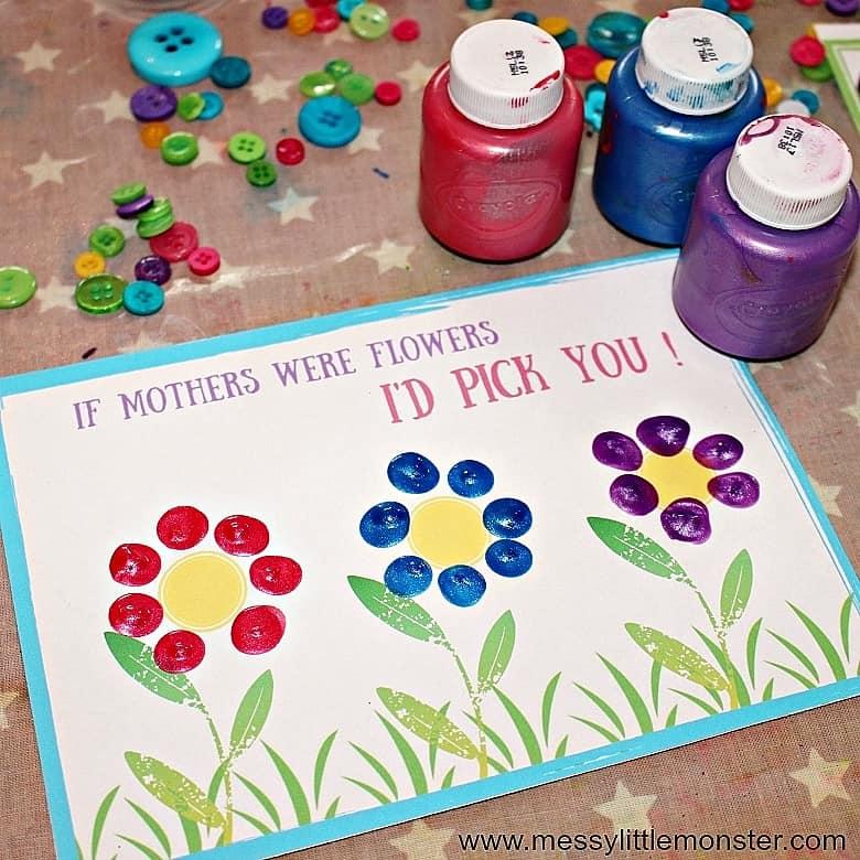 Easy DIY Fingerprint Flower Card. Great DIY Mother's Day craft gift kids can make for Mom or GrandMa