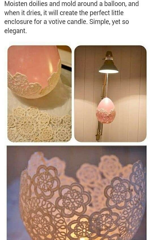 Easy DIY Doily Lace Votive Mothers Day craft kids can make. A great farm house glam Home Decor gift idea you can do for Mom's, GrandMa, or Grauntie on a budget. Even use as Wedding decor.