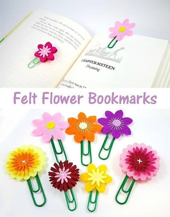 Easy DIY Felt flower bookmark Kids can make for Mothers Day. A great gift idea.