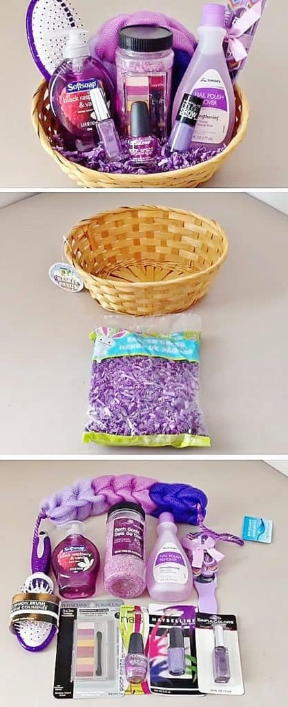 Easy DIY Dollar Tree Spa set gift basket ideas for Mom or family. DIY Mother's Day craft gift idea kids can make for Mom or GrandMa on a budget. Also a great Christmas gift.