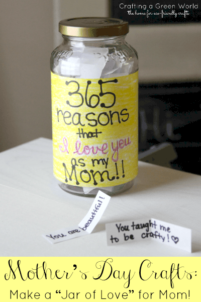Easy DIY Jar of Love Kids can make for Mothers Day. A great last minute gift idea on a budget and costs nothing.