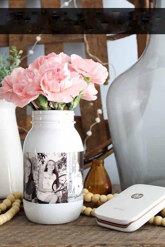 Easy DIY Photo Frame Mason Jar Vase Mothers Day craft kids can make. A great elegant and rustic Home Decor gift idea you can do for Mom's, GrandMother, or Grauntie on a budget., even as a graduation centerpiece.