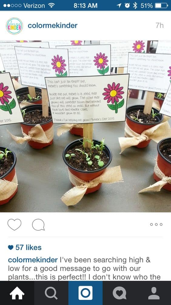 Perfect plant poem for Easy DIY Mothers Day crafts kids can make. A great thoughtful Summer garden gift idea you can do for Mom's, GrandMother, or Grauntie on a budget.