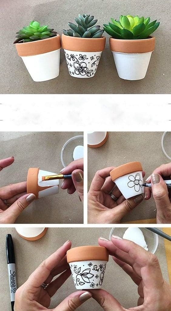 Easy DIY Sharpie mini Flower Pot Idea Kids can make for Mothers Day. A great last minute gift idea you an do in 15 minutes for Mom's, GrandMother, or Grauntie. On a budget idea
