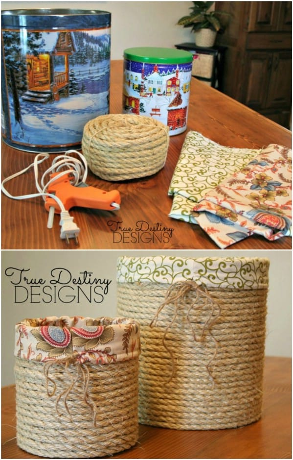 Easy DIY Rustic Rope canister made out of a Christmas tin. Mothers Day craft kids can make. A great rustic farm house Home Decor gift idea you can do for Mom's, GrandMa, or Grauntie on a budget.