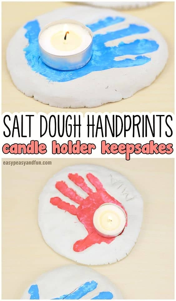 Easy DIY Salt Dough Handprint Votive Mothers Day craft kids can make. A great thoughtful Home Decor gift idea you can do for Mom's, GrandMa, or Grauntie on a budget.