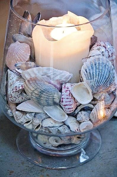Easy DIY Seashell Coastal Style Candle Votive Mothers Day craft kids can make. A great White Beach decor gift idea you can do for Mom's, GrandMother, or Grauntie on a budget. Can even be used as a Wedding center piece.