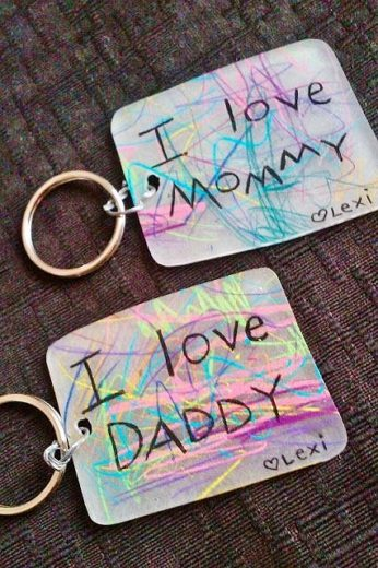 Easy DIY Shrinky Dink Key chain idea kids an make for Father's Day