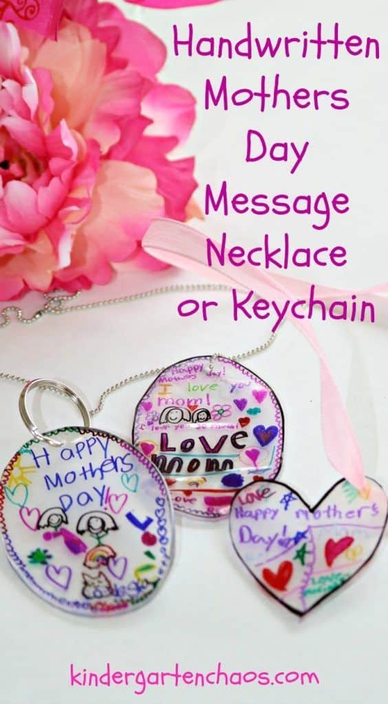 Easy DIY Shrinkie Dink necklace or keychain kids can make for Mother's day. A keepsake gift idea with a sentimental message written for mom. Can also be made for Father's Day.