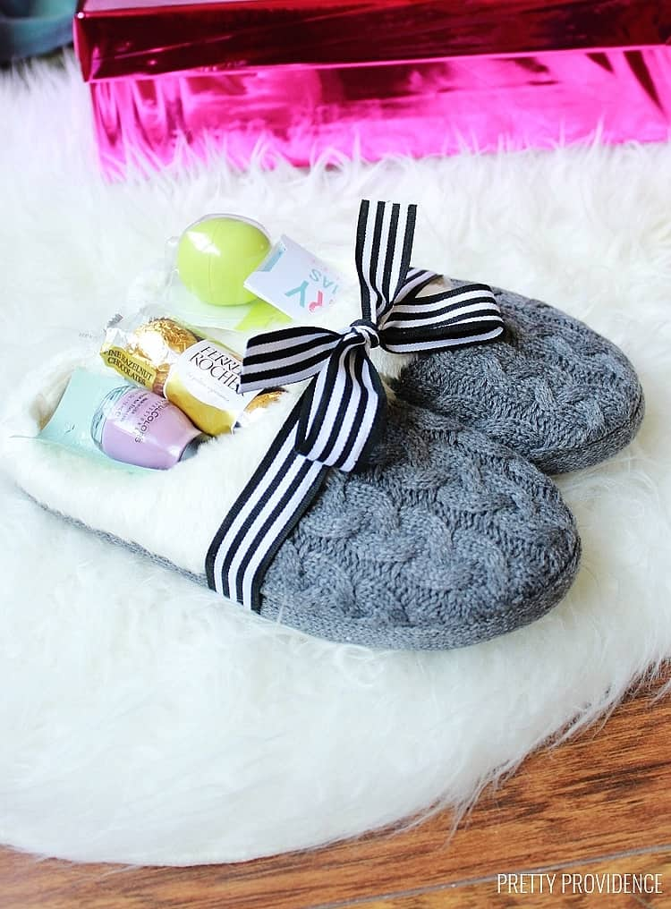 Easy DIY Slipper Gift Idea. Great DIY Mother's Day craft gift idea kids can make for Mom or GrandMa on a budget. Also makes a great Christmas gift.