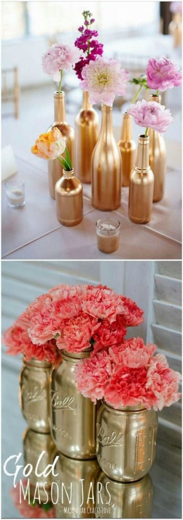 Easy DIY Gold Mason jar vase Mothers Day craft. A great farm house glam Home Decor gift idea you can do for Mom's, GrandMa, or Grauntie on a budget.