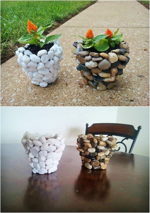 Easy DIY Stone Flower Pot Mothers Day crafts kids can make. A great rustic gift idea you an do for Mom's, GrandMother, or Grauntie on a budget.