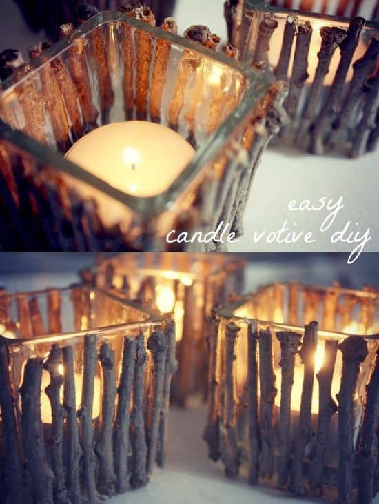 Easy DIY Twig Stick Votive Mothers Day craft kids can make. A great rustic farm house Home Decor gift idea you can do for Mom's, GrandMa, or Grauntie on a budget.