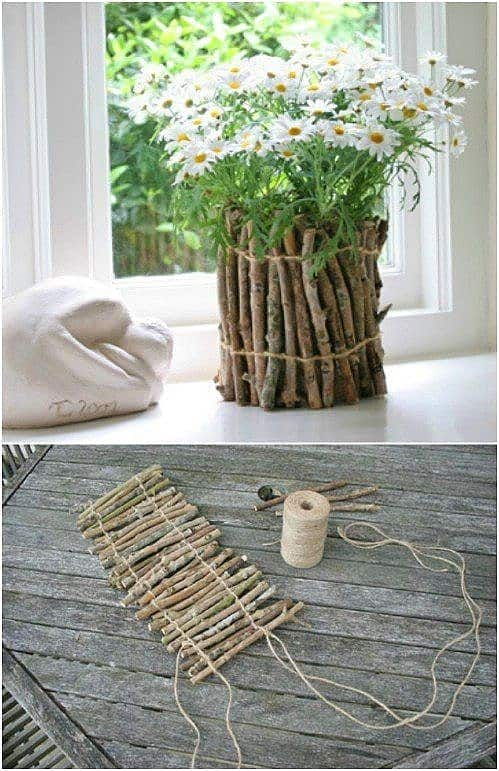 Easy DIY Rustic Twig and stick Vase Mothers Day craft kids can make. A great Home Decor Garden gift idea you can do for Mom's, GrandMother, or Grauntie on a budget.