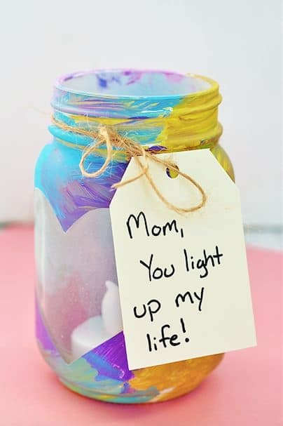 Easy DIY Votive Jar with thoughtful card. A Mothers Day craft kids can make. A great Home Decor gift idea you can do for Mom's, GrandMa, or Grauntie on a budget.